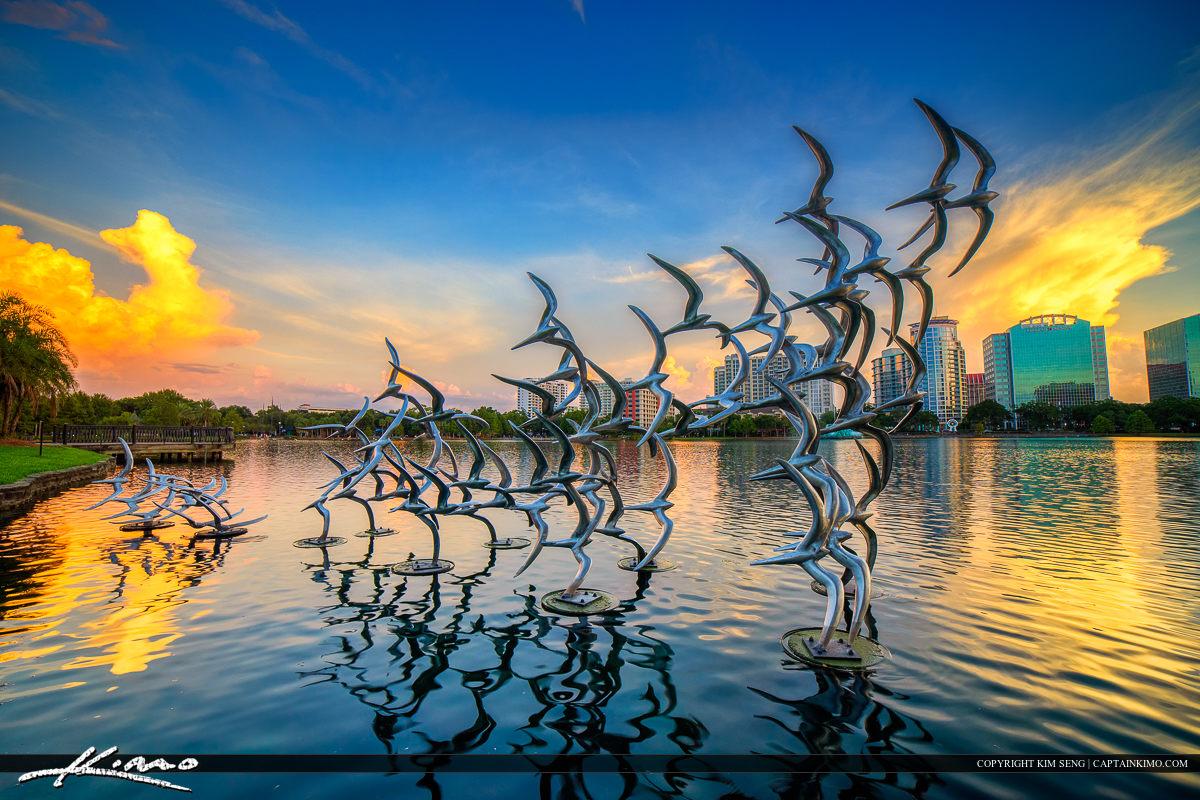 Orlando Downtown City Bird Statue at Lake Eola