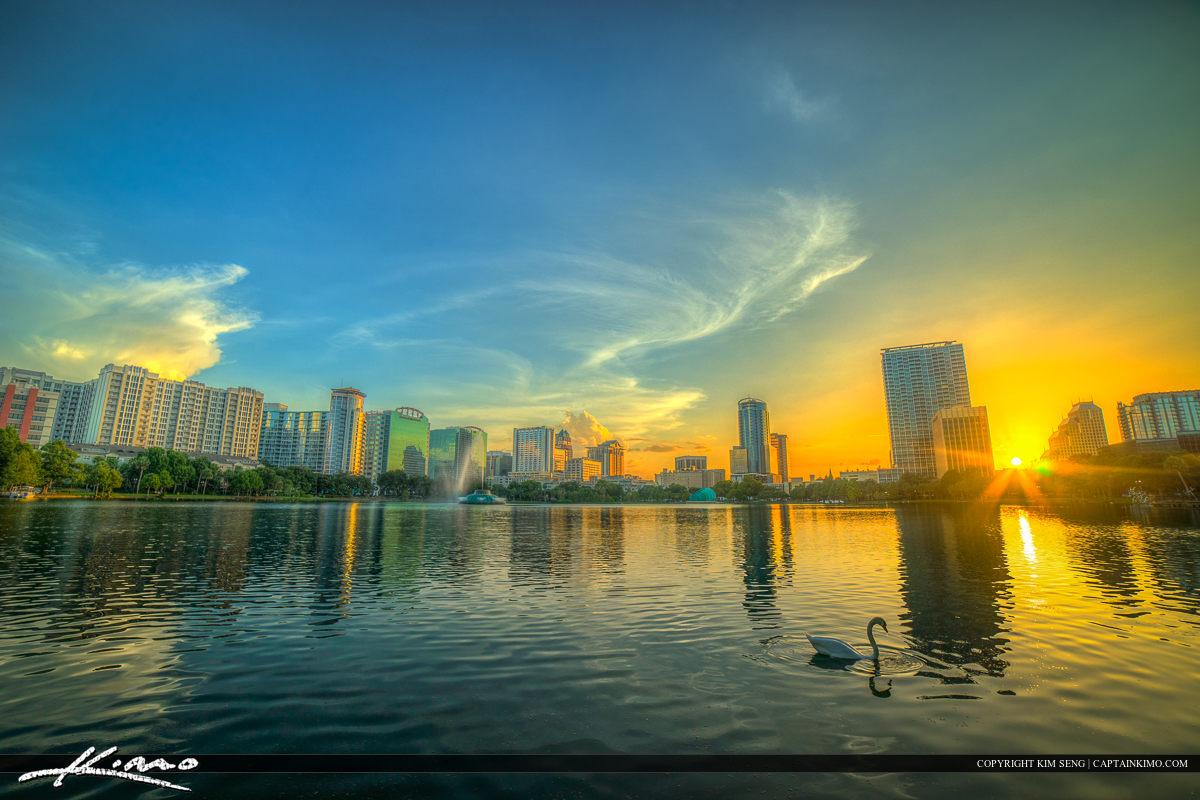 Orlando City Downtown Lake Eola Park Swan at Sunset Lake