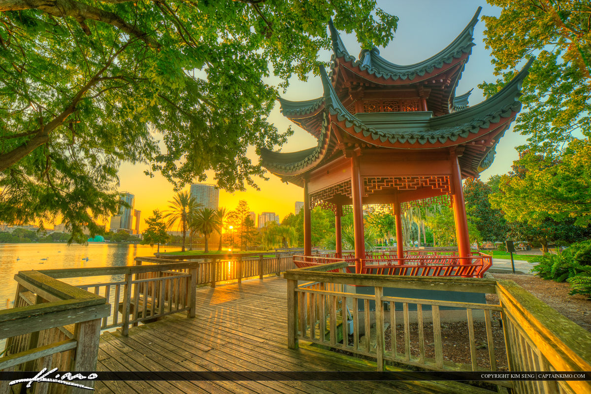 Orlando City Downtown Lake Eola Park Pagoda Sunset