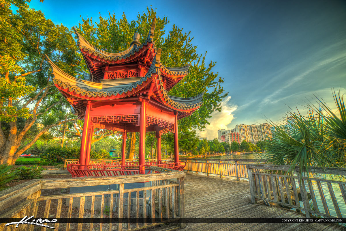 Orlando City Downtown Lake Eola Park Red Pagoda