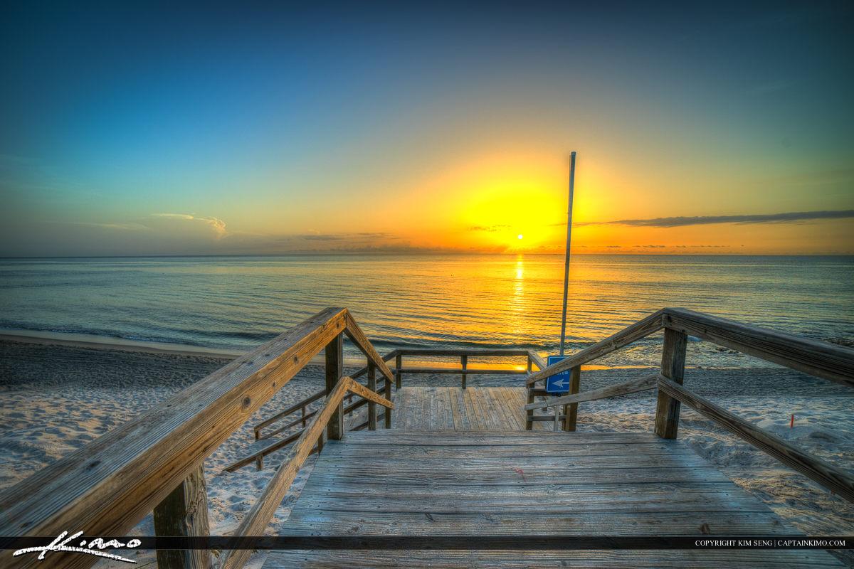 Florida Beach Sunrise Stairs to Beach