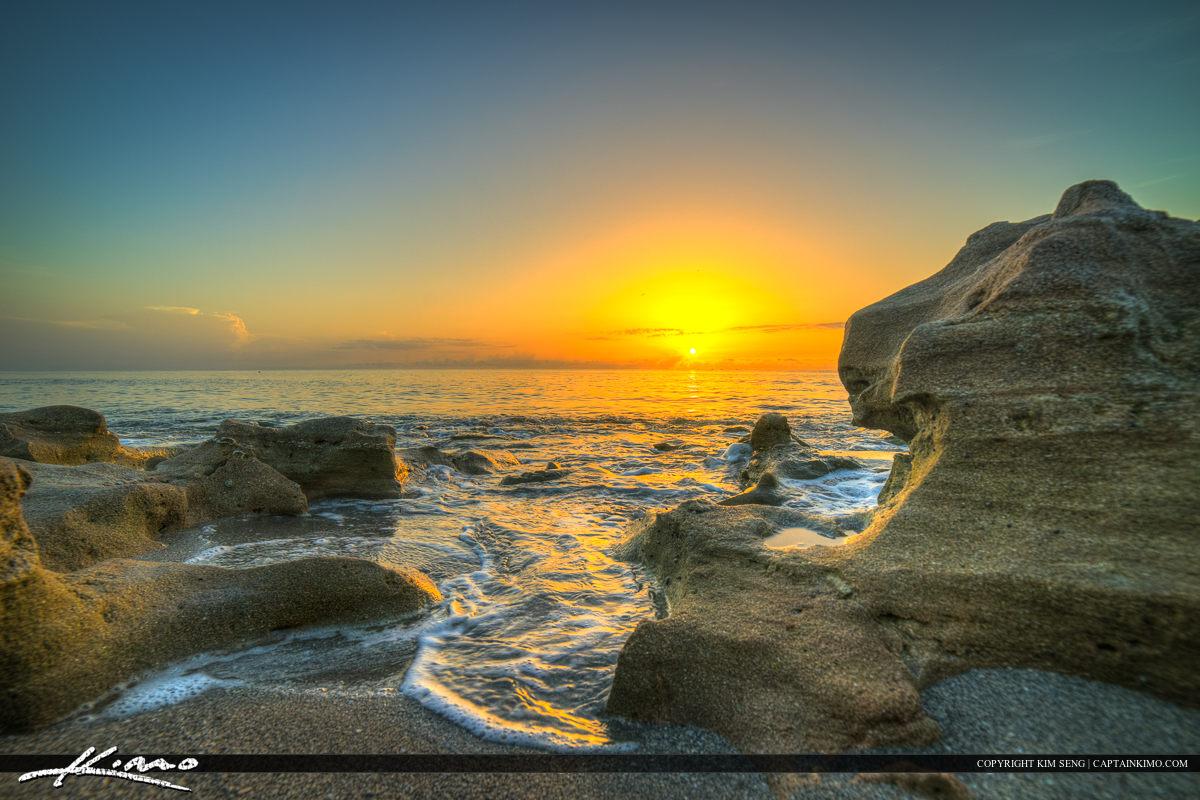 Florida Beach Sunrise Coral Cove Rocks
