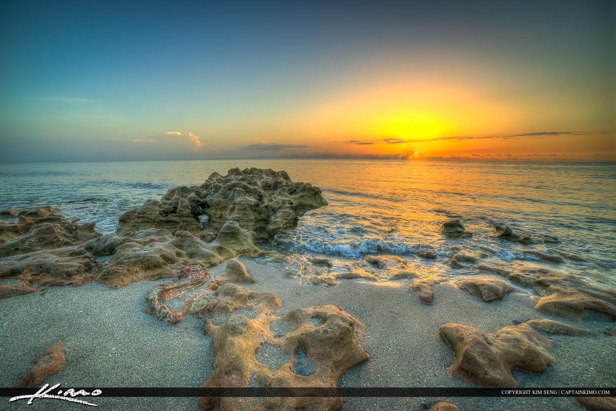 Florida Beach Sunrise at the Coral Rocks
