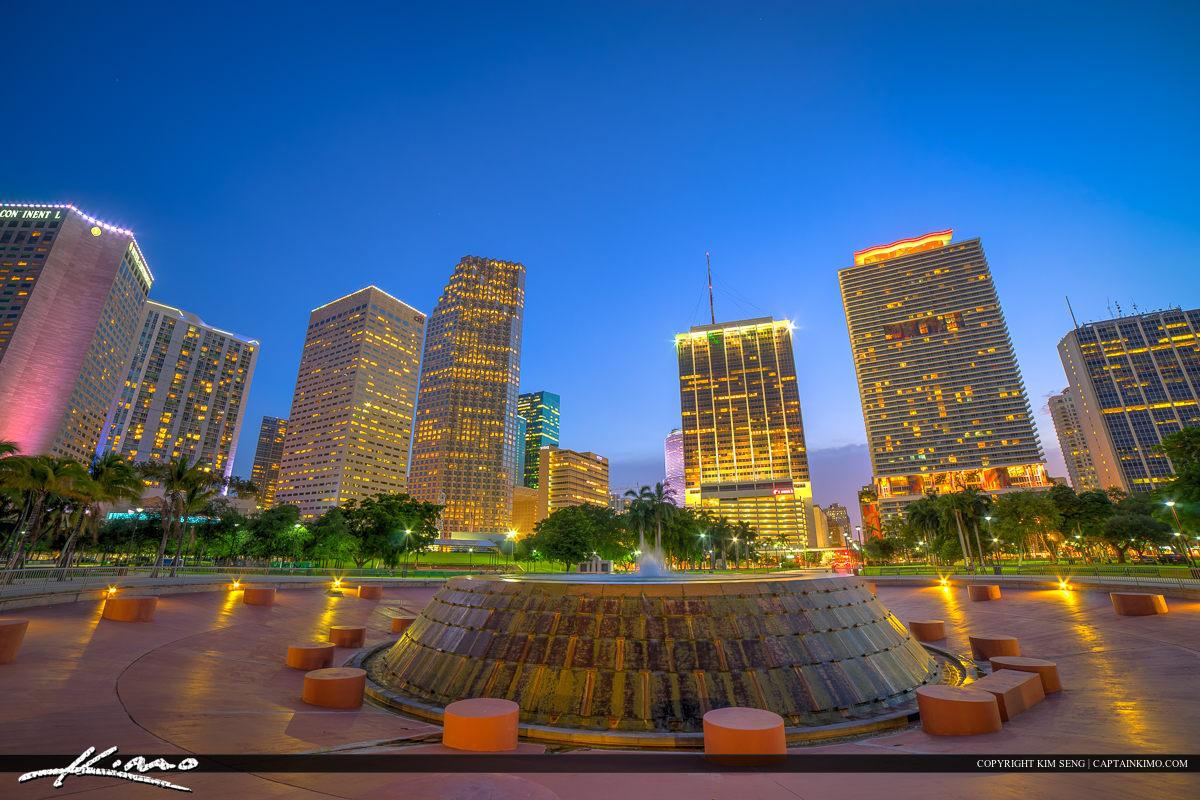 Miami City Downtown Skyline from Bayshore Park