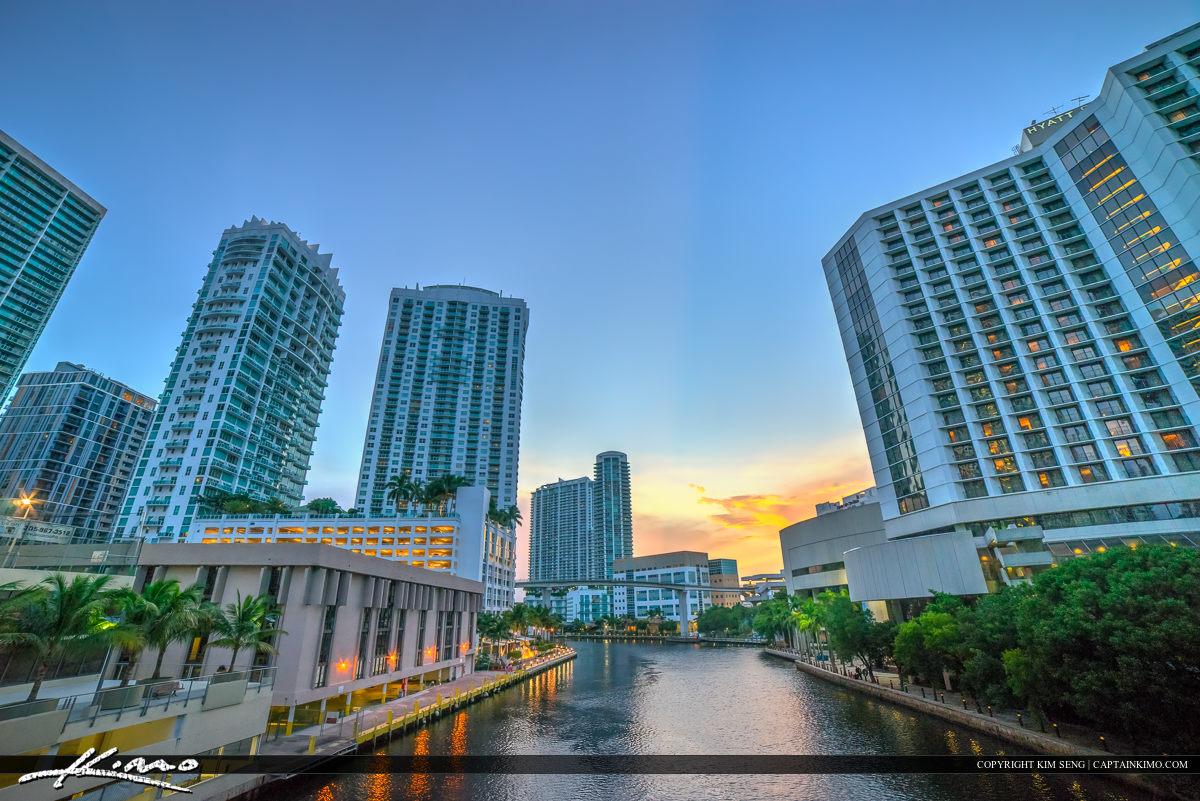 Miami City Downtown along the Miami River Walk