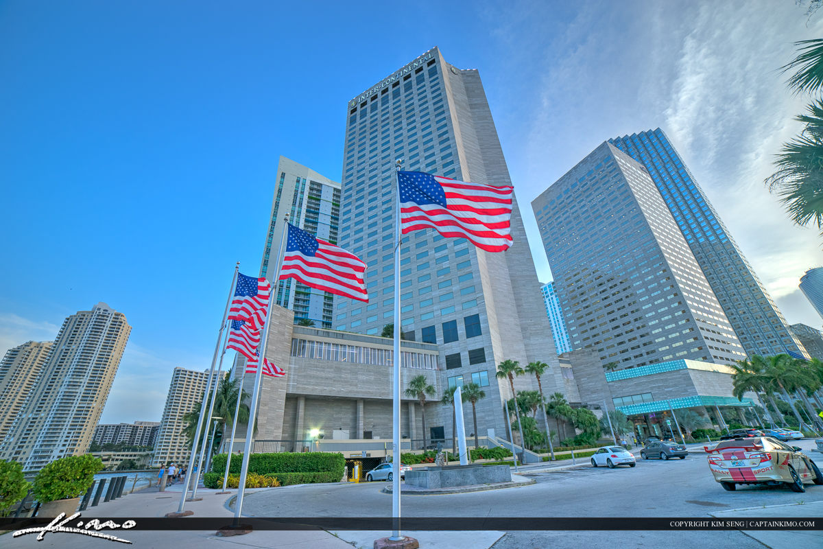 Miami Downtown Flag at Buidling