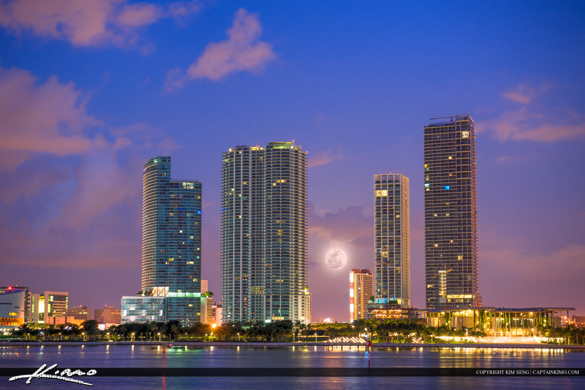 Miami Skyline Buidlings with Moon Setting