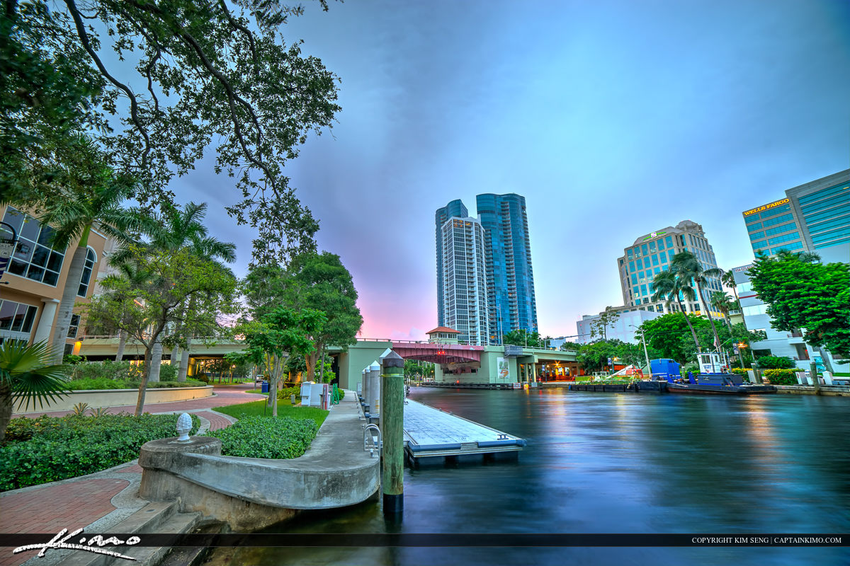 New River at the Fort Lauderdale Riverwalk Downtown Cityscape