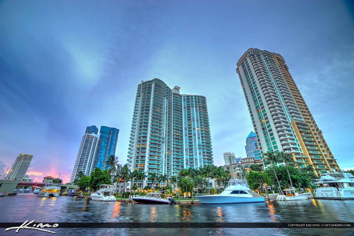 New River at the Fort Lauderdale Riverwalk Condo City Skyline