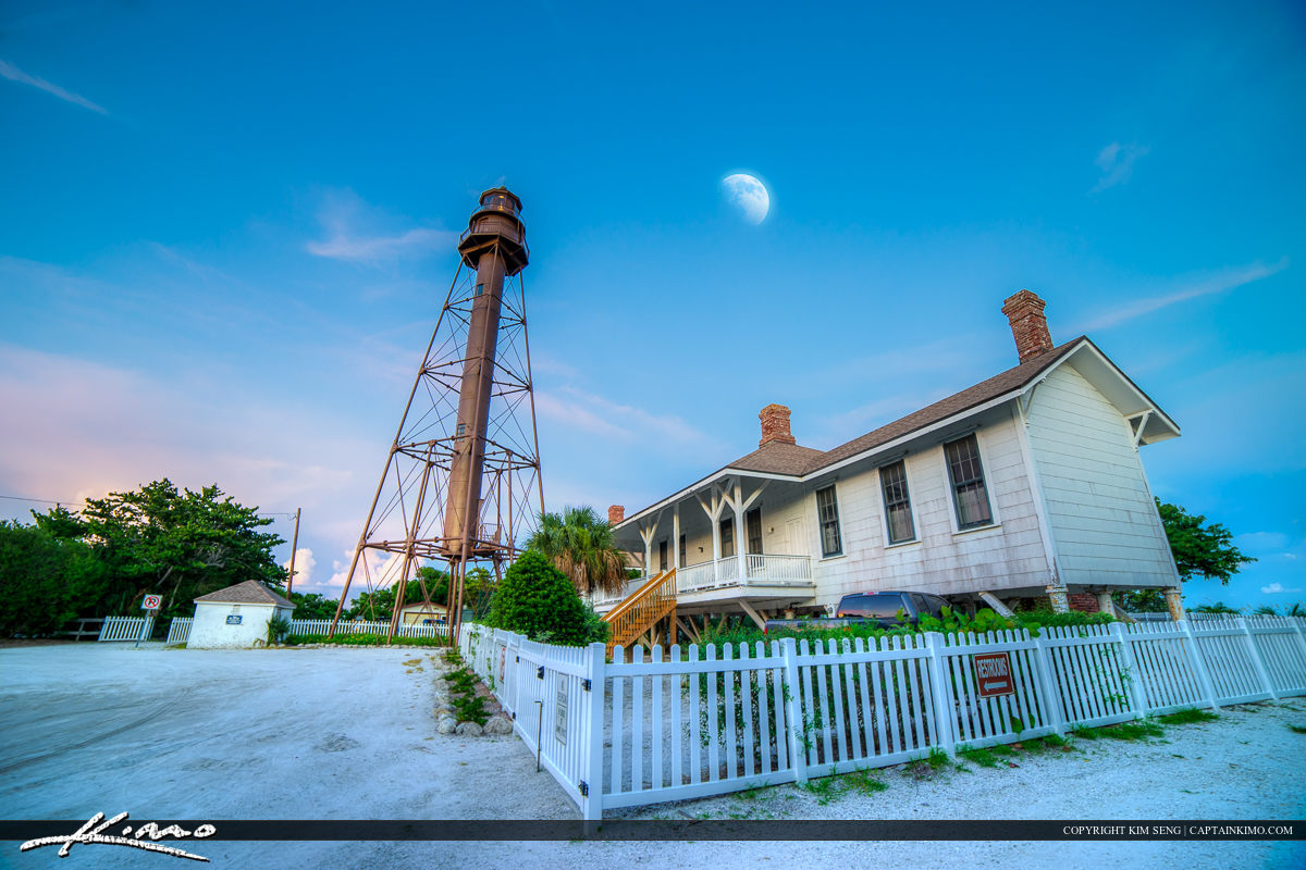 Sanibel Island Lighthouse and Moon