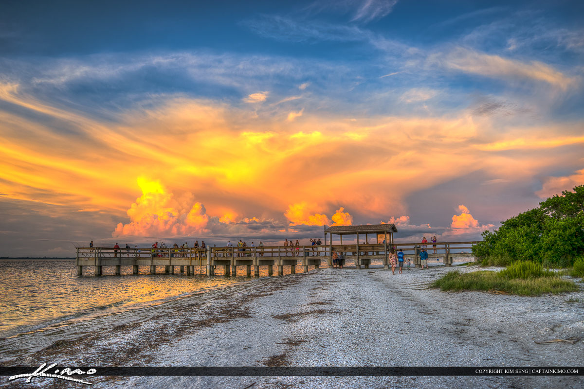 Sanibel Island Pier at Lighthouse Beach Park Beauitful Clouds