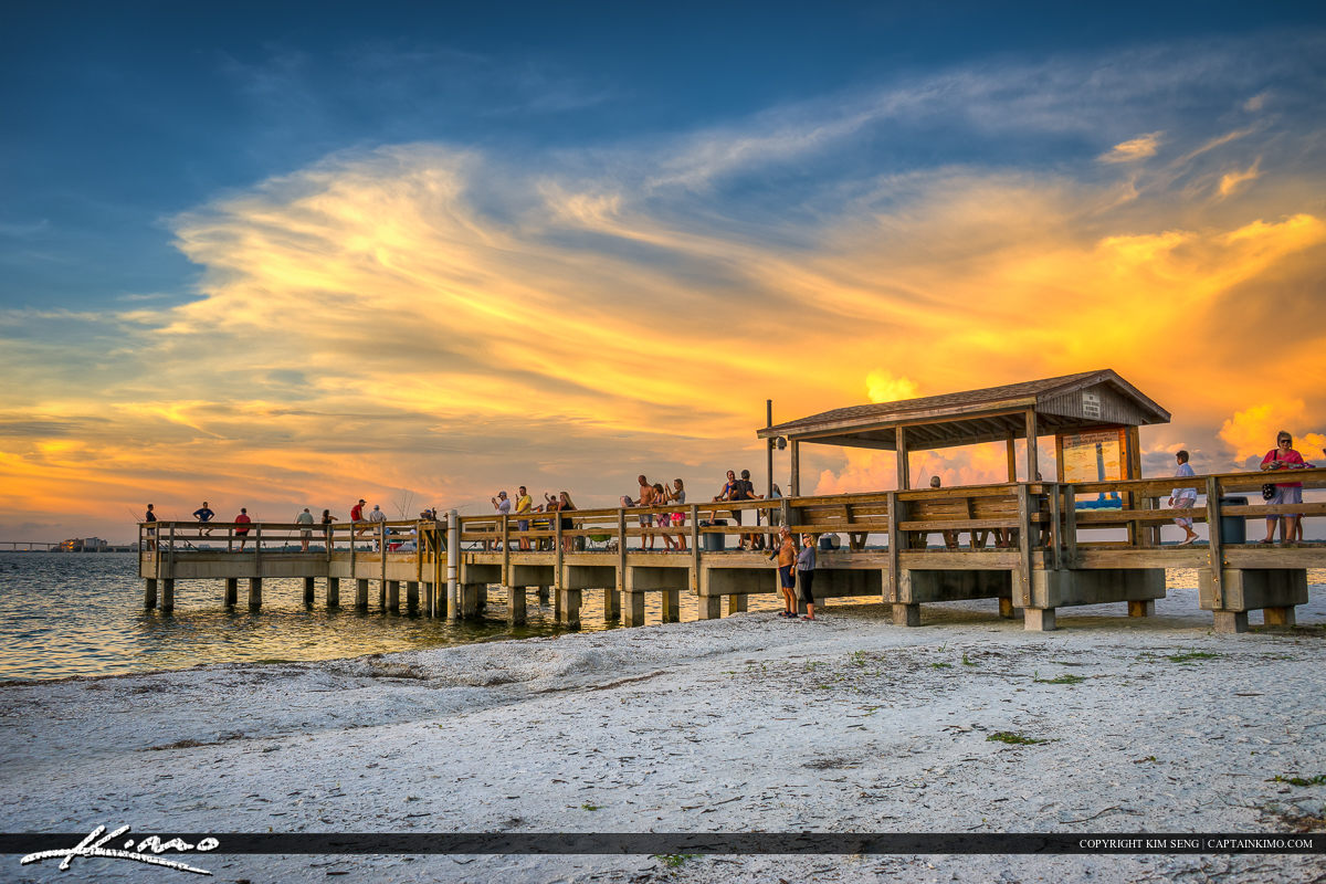 Sanibel Island Pier at Lighthouse Beach Park Watching Sunset