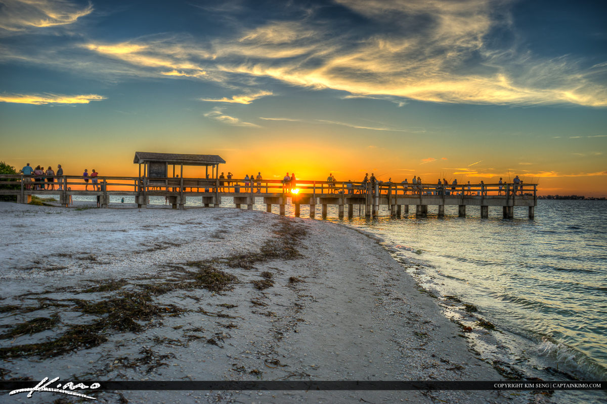 Sanibel Island Pier at Lighthouse Beach Park Sunset Along Beach