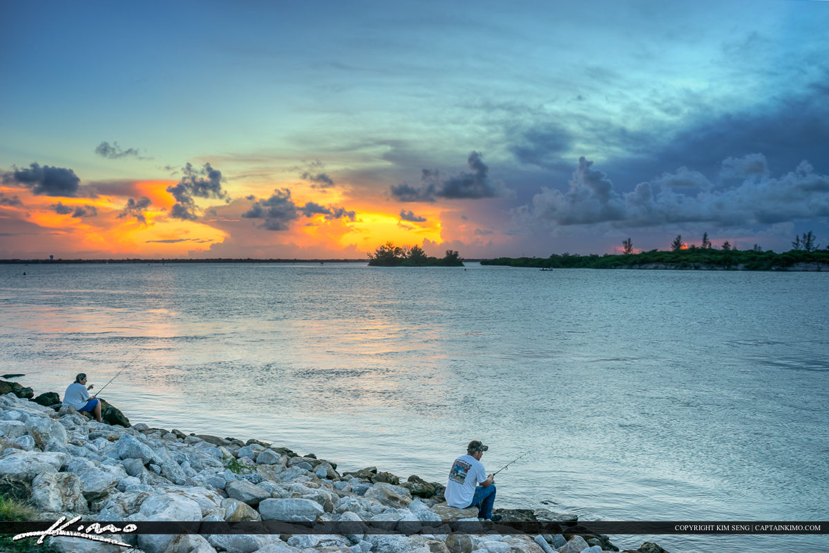 Sebastian Inlet Fishing During Sunset