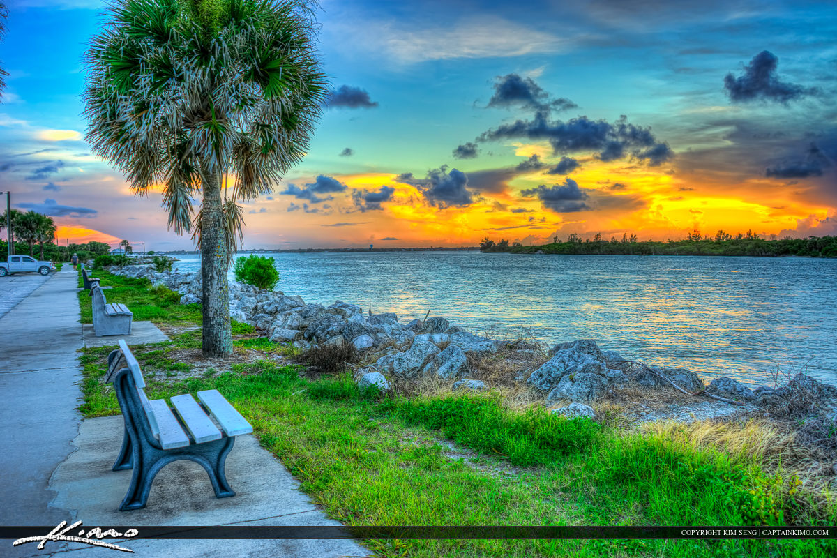 Sebastian Inlet Bench Sunset along Waterway