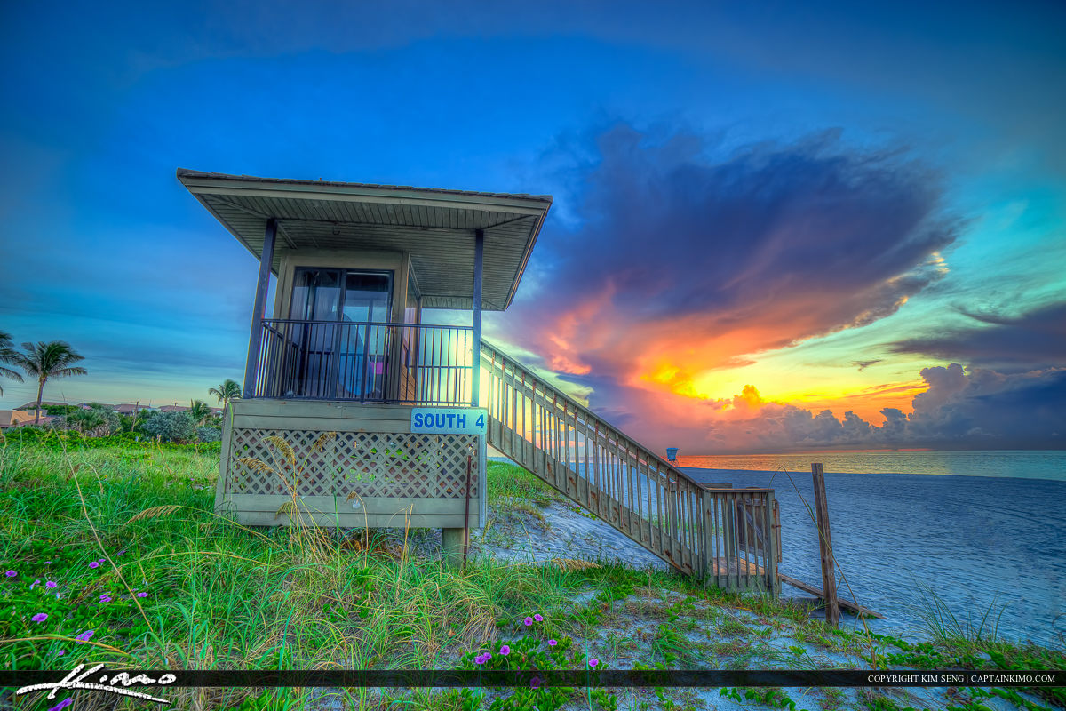 Delray Beach Florida Lifeguard Tower at the Sunrise