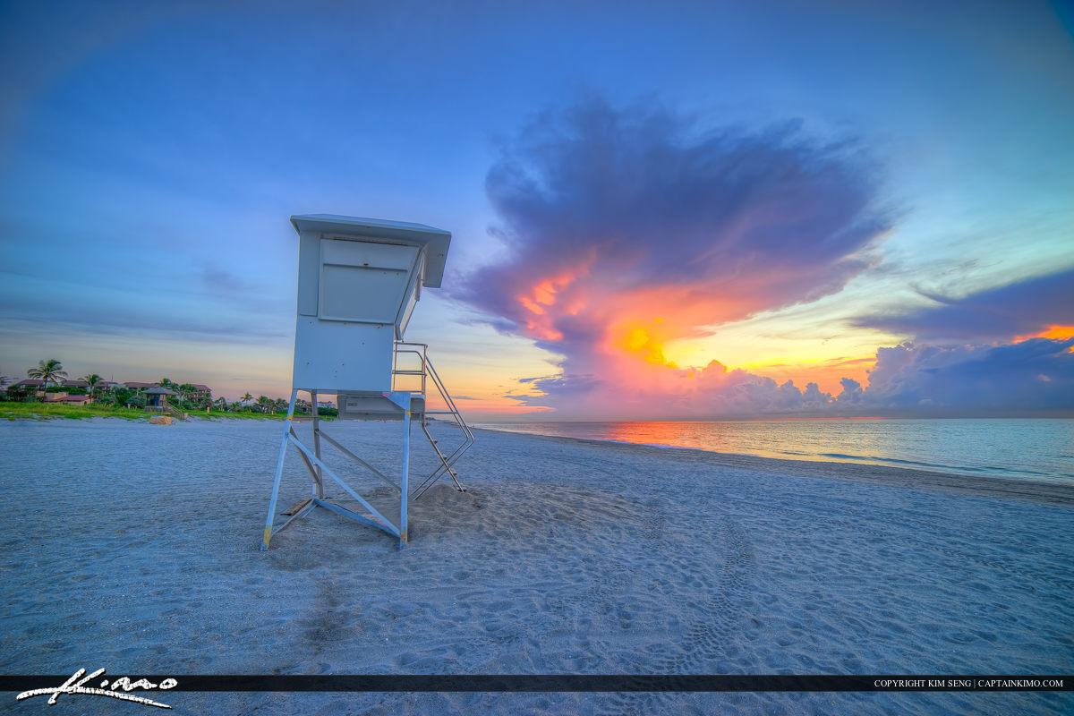 Delray Beach Florida Lifeguard Tower at Colorful Sunrise