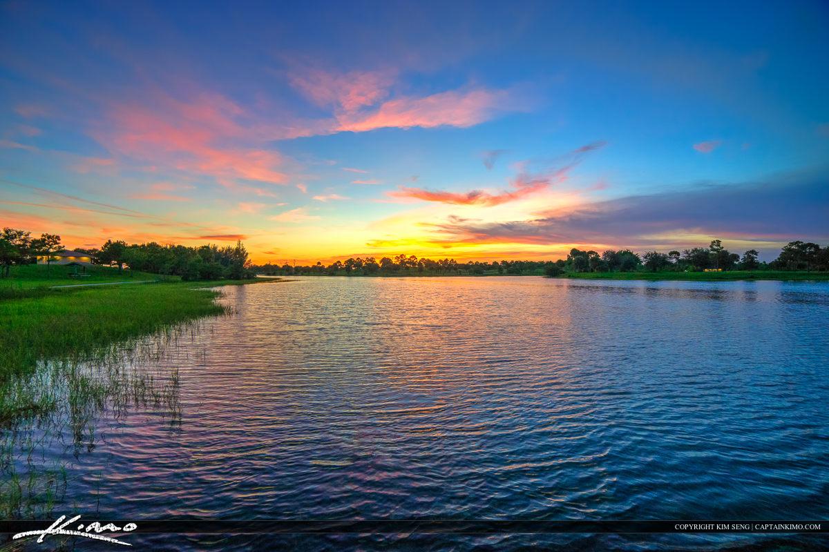 Okeeheelee Park Beautiful Sunset Over Lake