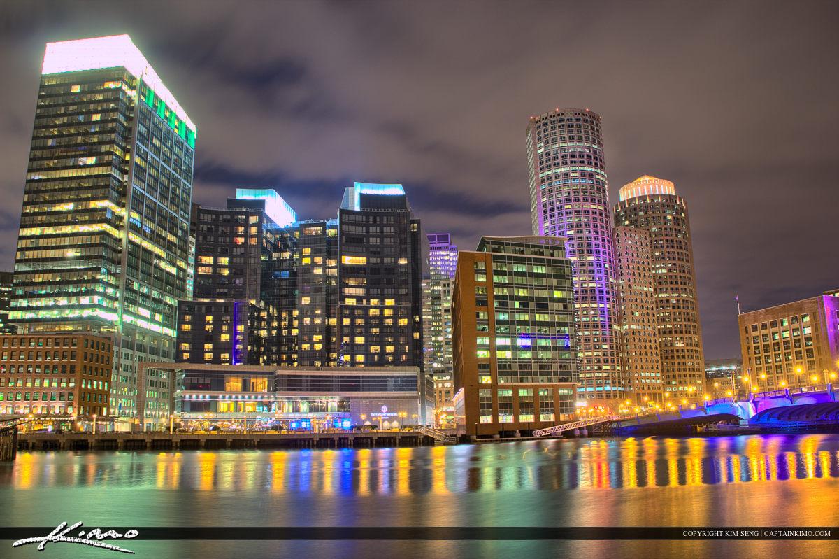 Boston City Downtown River Flowing