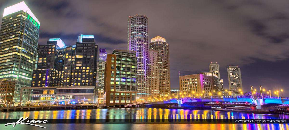 Boston City Downtown Pano Bridge Lights