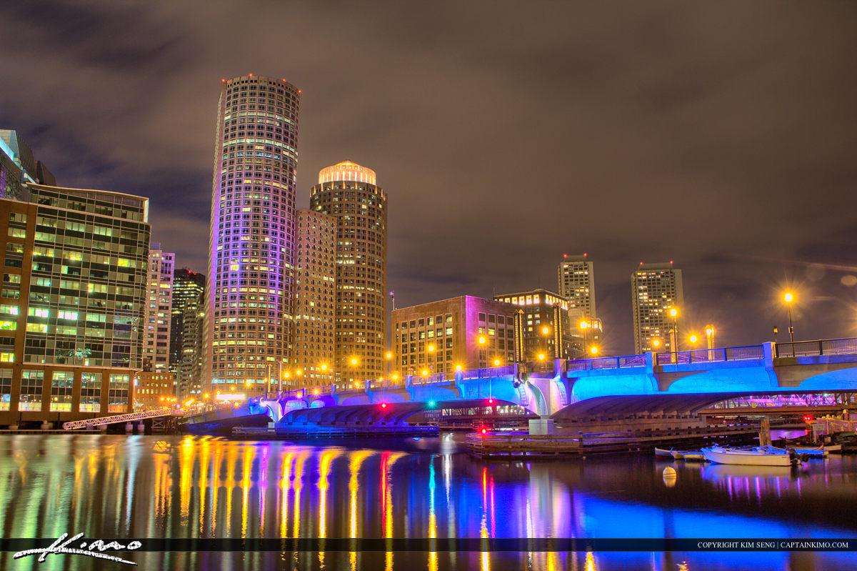 Boston City Downtown Lights at Bridge