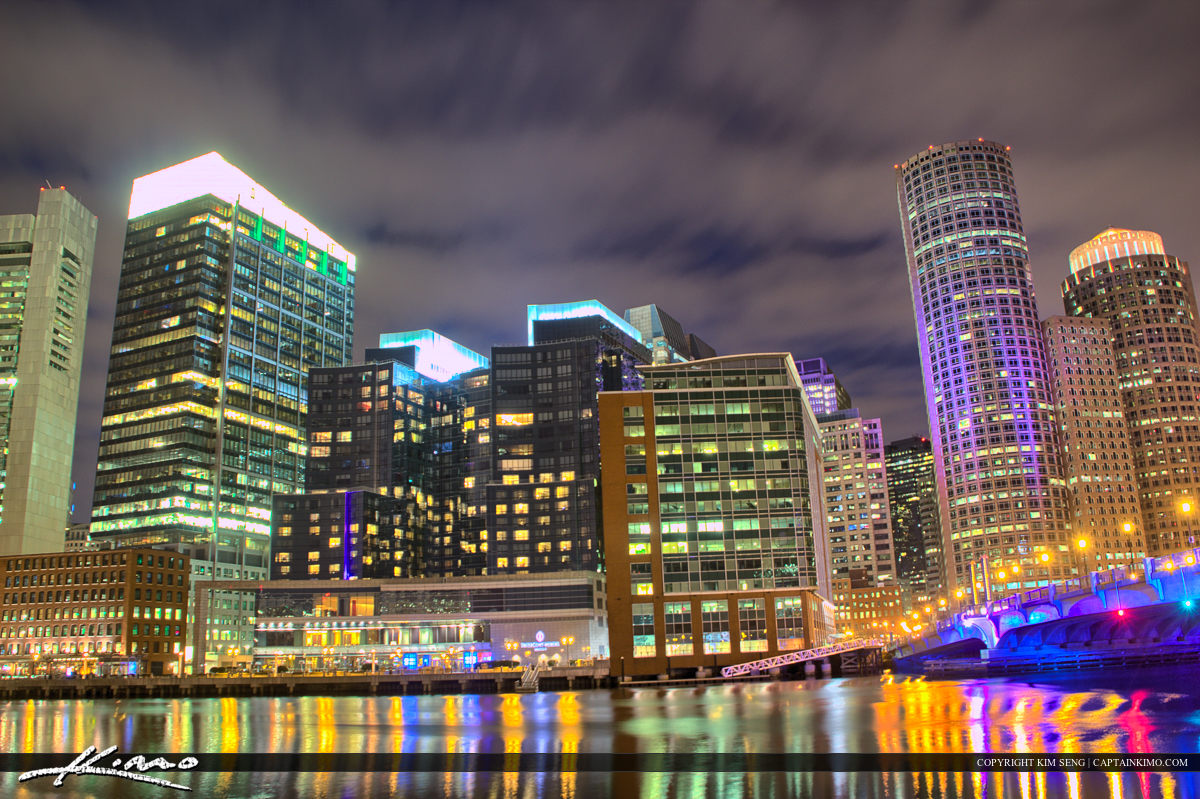 Boston City Downtown River at Night