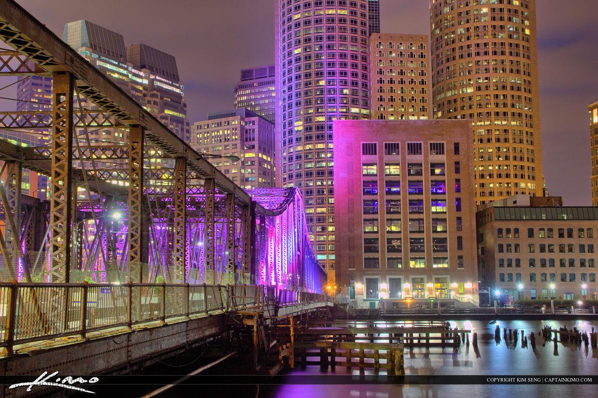Boston City Downtown Purple Lights at Bridge