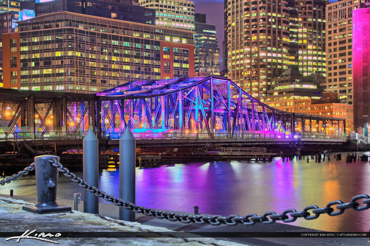 Boston City Downtown Old Iron Bridge