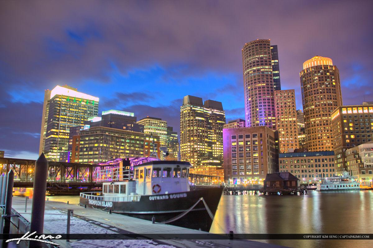 Boston City Downtown at Marina Boat