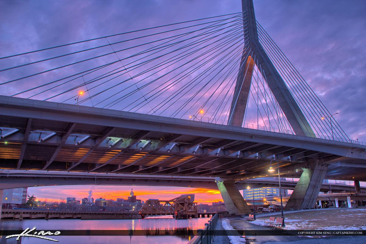Boston City Downtown Under Bunker Bridge
