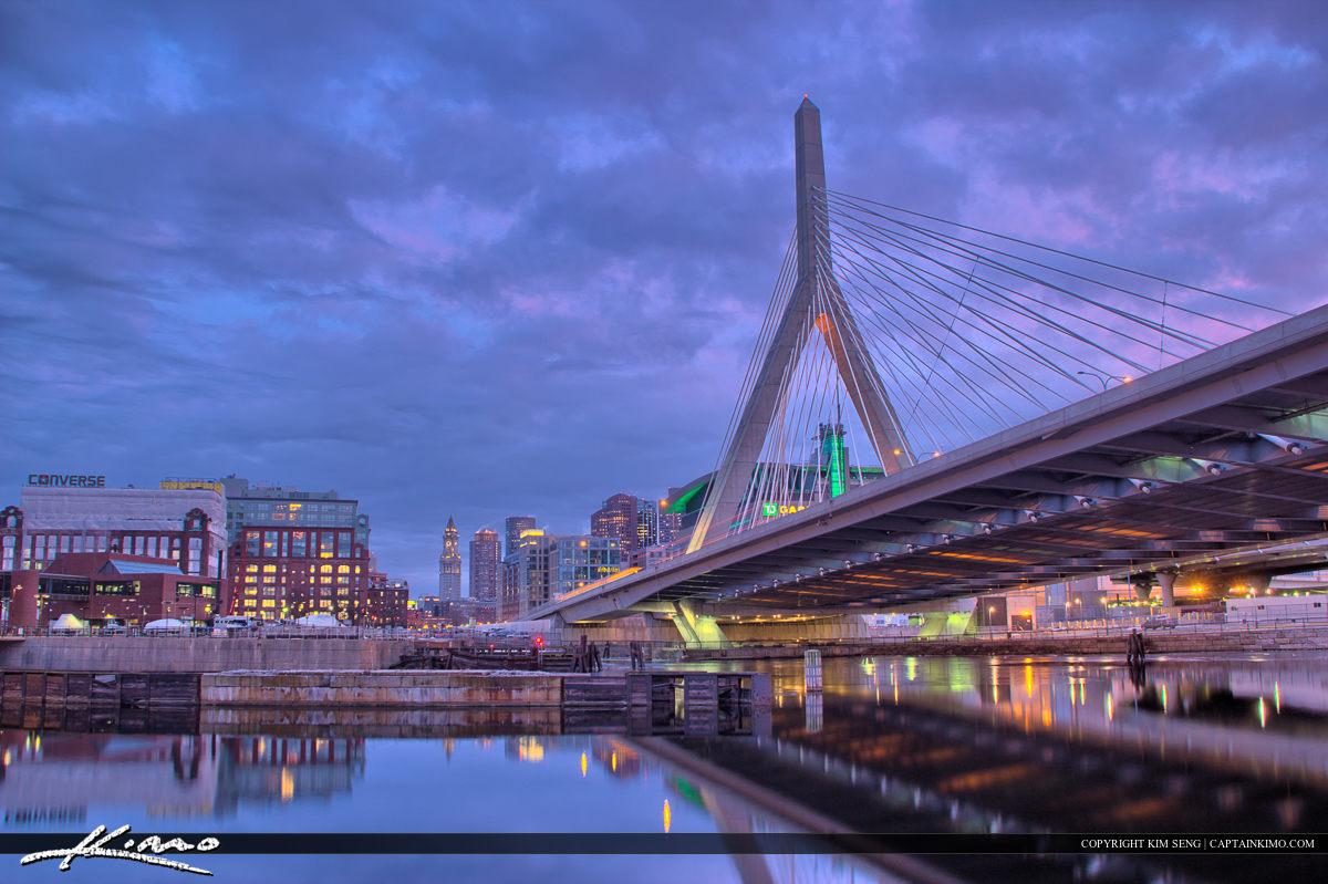 Boston City Downtown at Bridge with Skyline