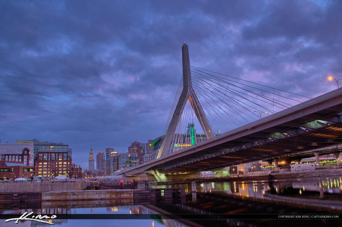 Boston City Downtown Skyline at Bridge