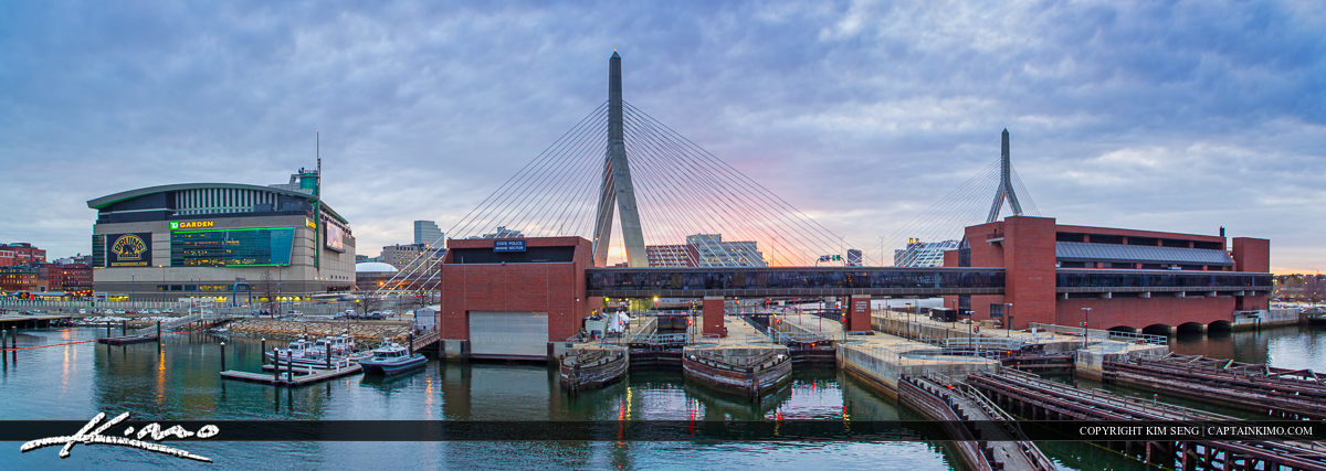 Boston City Downtown Bunker Hill Bridge and TD Statium