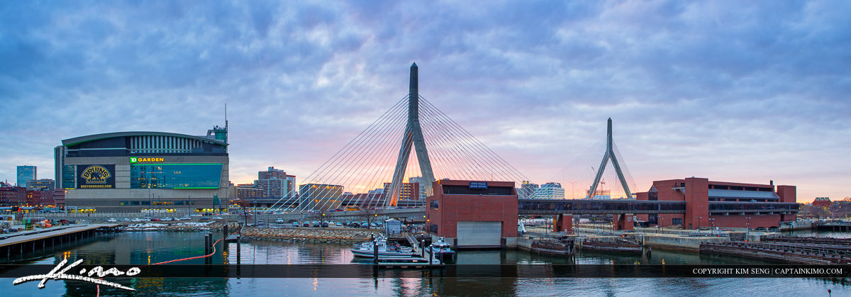 Boston City Downtown Wide Pano Bunker Hill Bridge