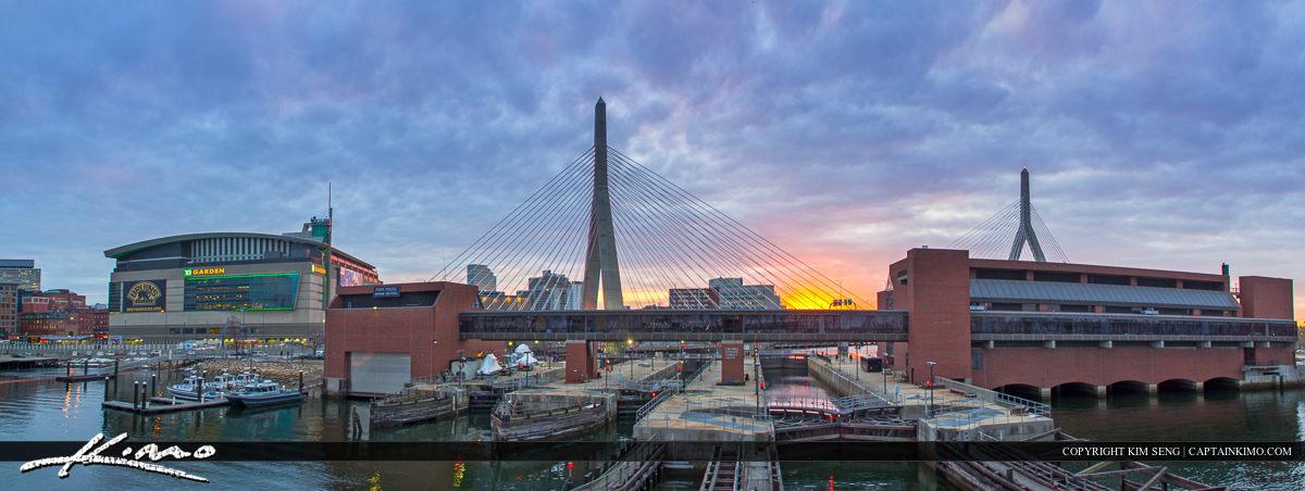Boston City Downtown Bunker Hill Bridge Sunset Pano