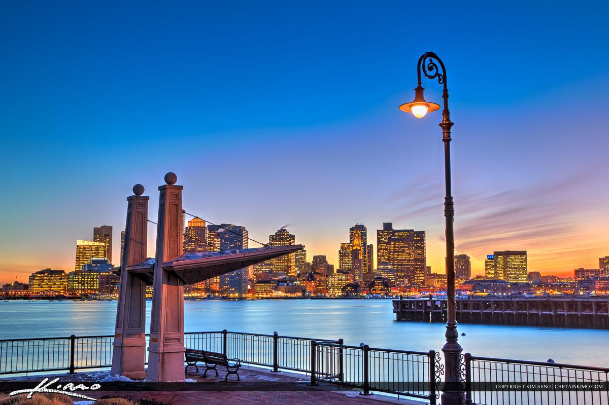 Boston Skyline City Lights