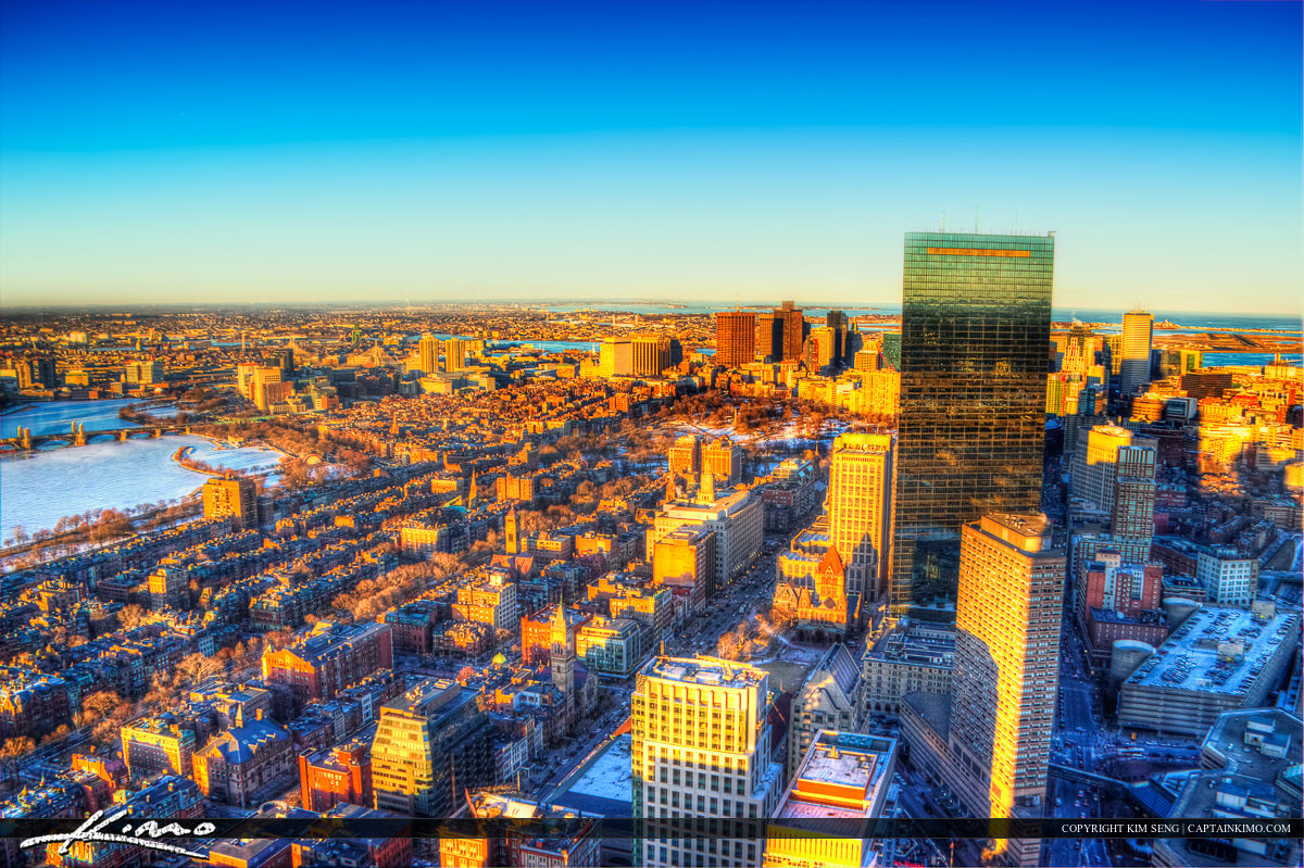 Boston City Downtown Magic Colors Ariel Photo