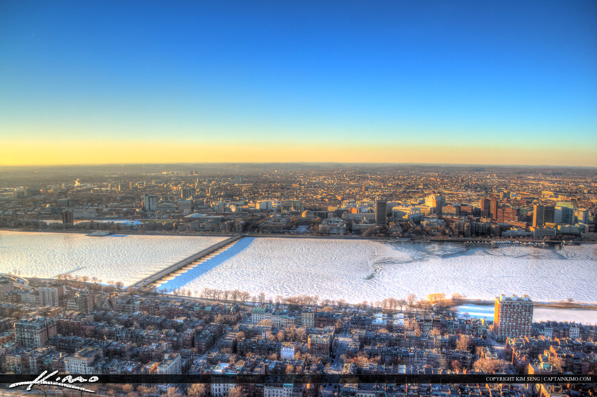 Boston Frozen Charles River from Prudential Building