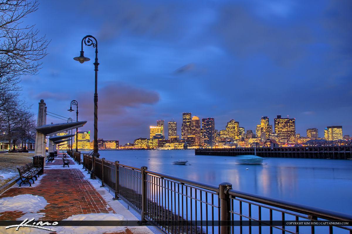 Boston Skyline Night Marina at Piers Park
