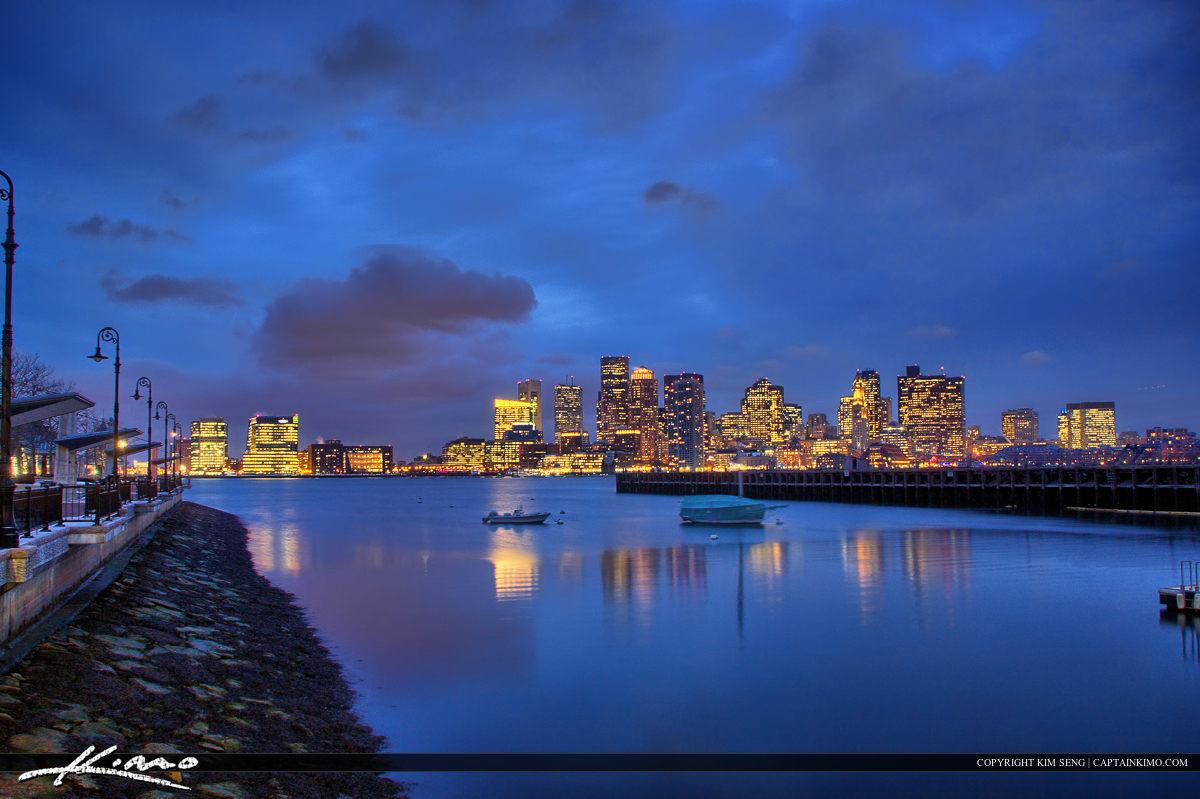 Boston Skyline Night at Piers Park