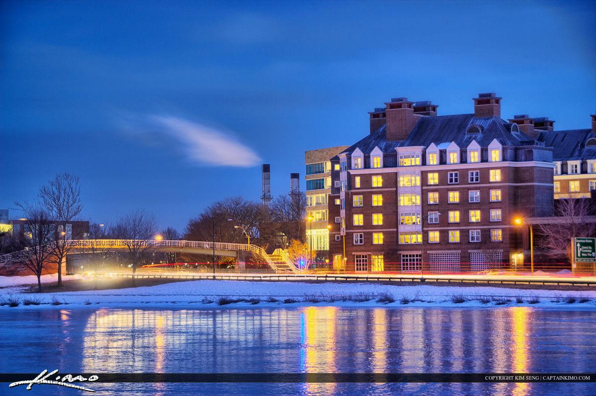 Harvard Square Cambridge Massachusetts Cold Day