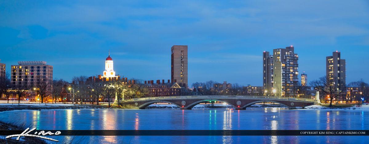 Harvard Square Cambridge Massachusetts Frozen Charles River