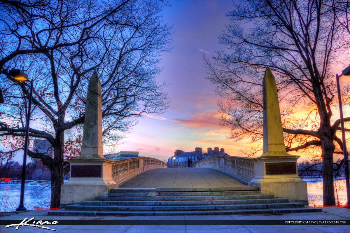 Harvard Square Cambridge Massachusetts John W. Weeks Bridge Entr
