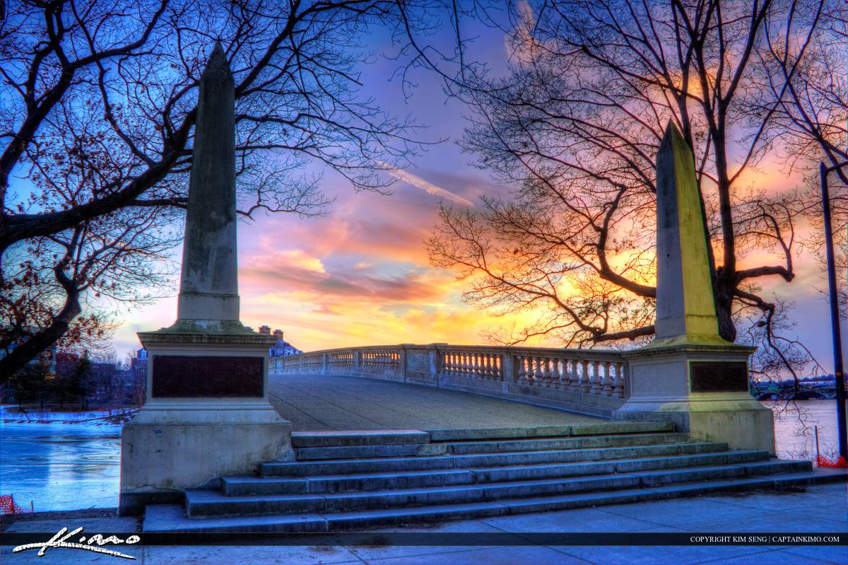 Harvard Square Cambridge Massachusetts Sunset John W. Weeks Brid