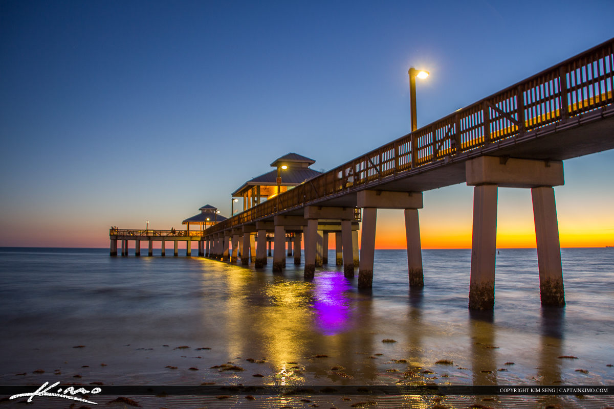 Fort Myers Beach Pier Florida After Sunset