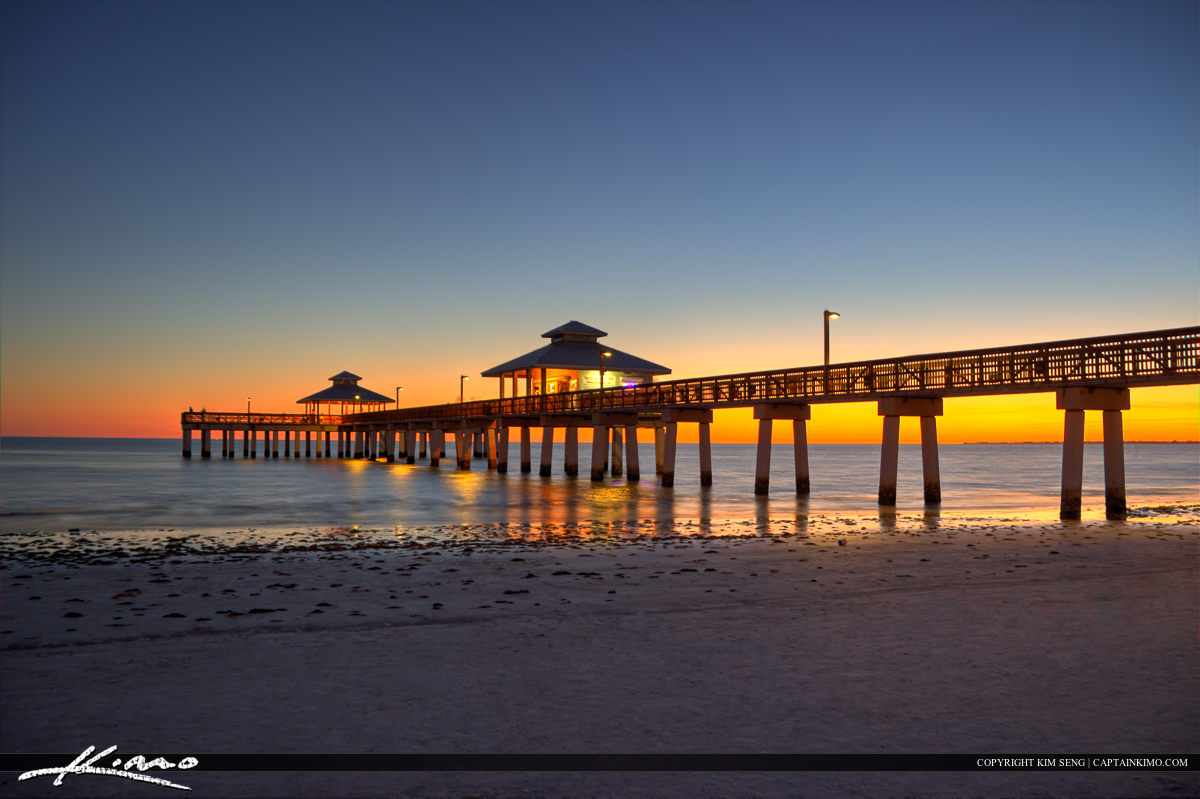 Fort Myers Beach Pier Florida Dark Warm Colors