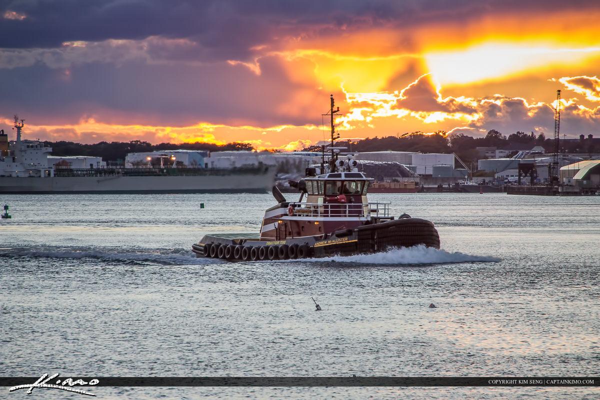 Tugboat Portland Maine Sunset at Harbor