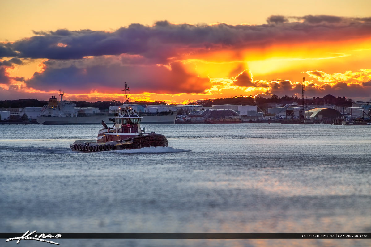Tugboat in Portland Maine Harbor at Sunset