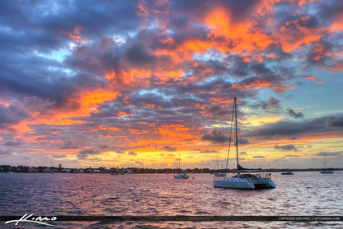 North Palm Beach Sunrise Over Sailboat