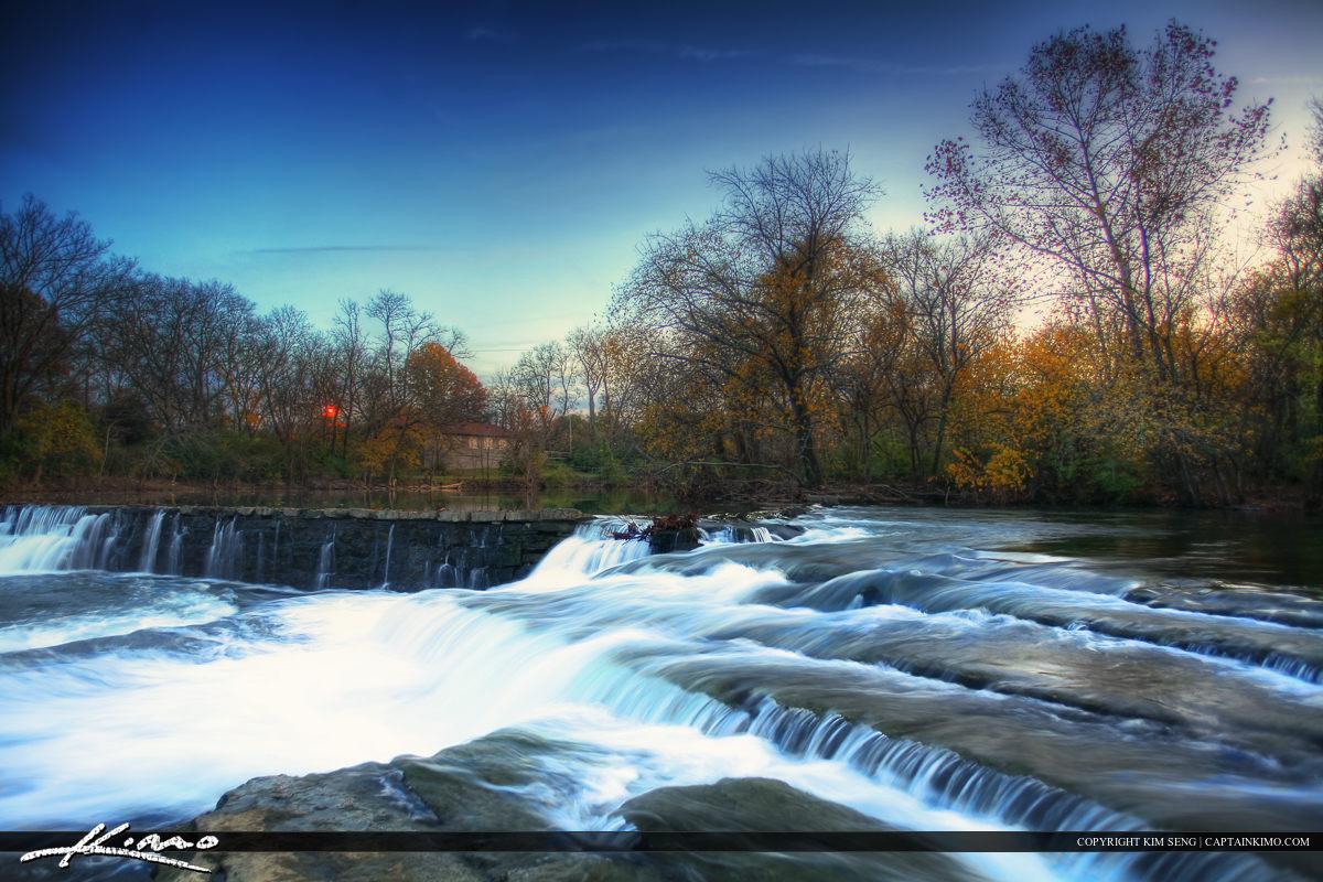 Stones River Murfreesboro Tennessee Almost Dark at Dam Waterfall
